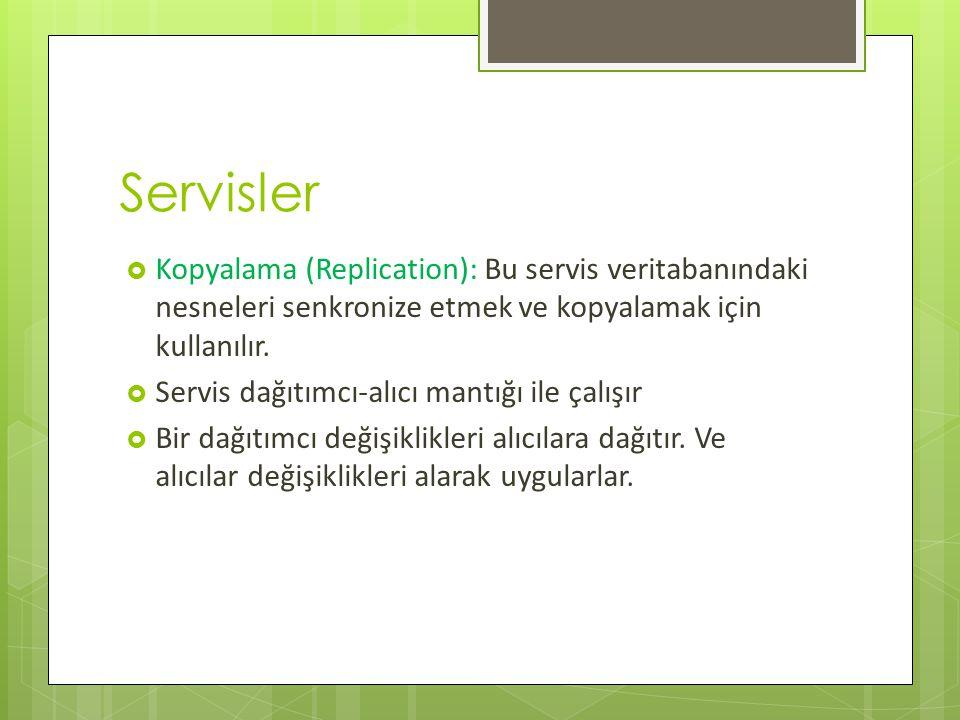 Servisler Kopyalama (Replication): Bu servis veritabanındaki nesneleri senkronize etmek ve kopyalamak için kullanılır.
