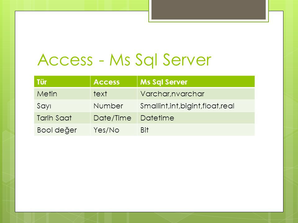Access - Ms Sql Server Tür Access Ms Sql Server Metin text