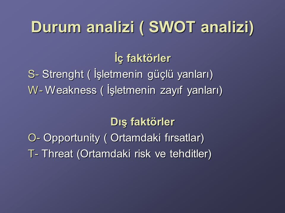 Durum analizi ( SWOT analizi)