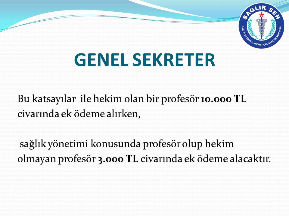 GENEL SEKRETER Bu katsayılar ile hekim olan bir profesör 10.000 TL