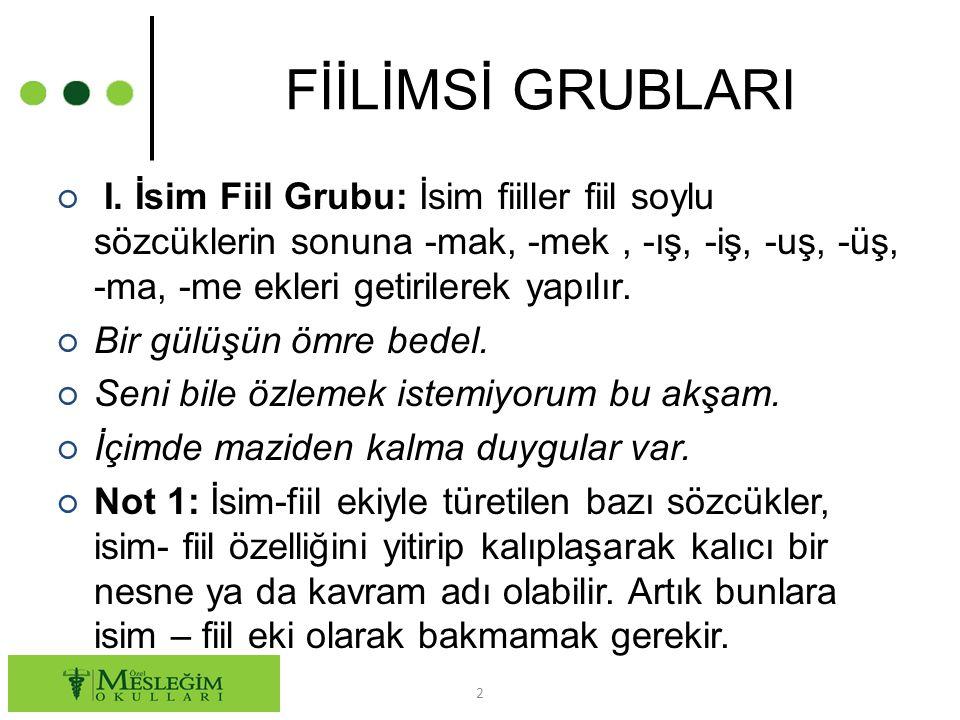 FİİLİMSİ GRUBLARI