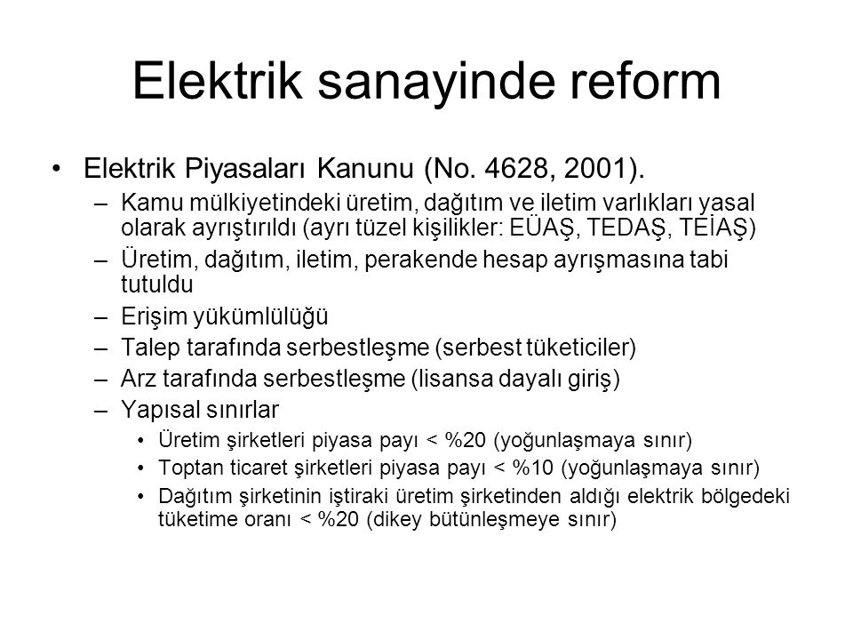 Elektrik sanayinde reform