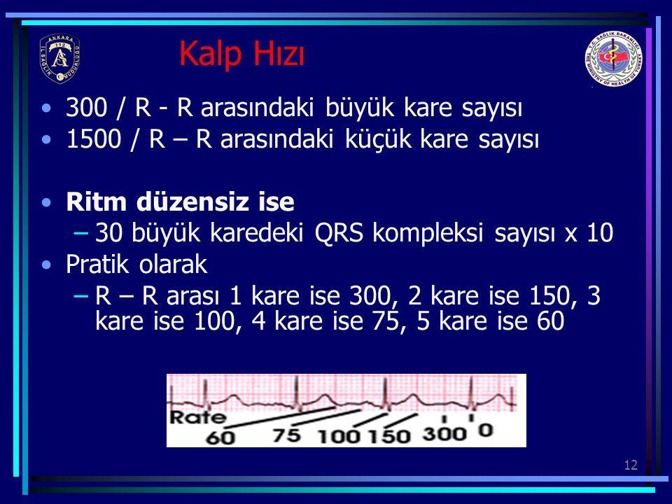 Kalp Hızı 300 / R - R arasındaki büyük kare sayısı