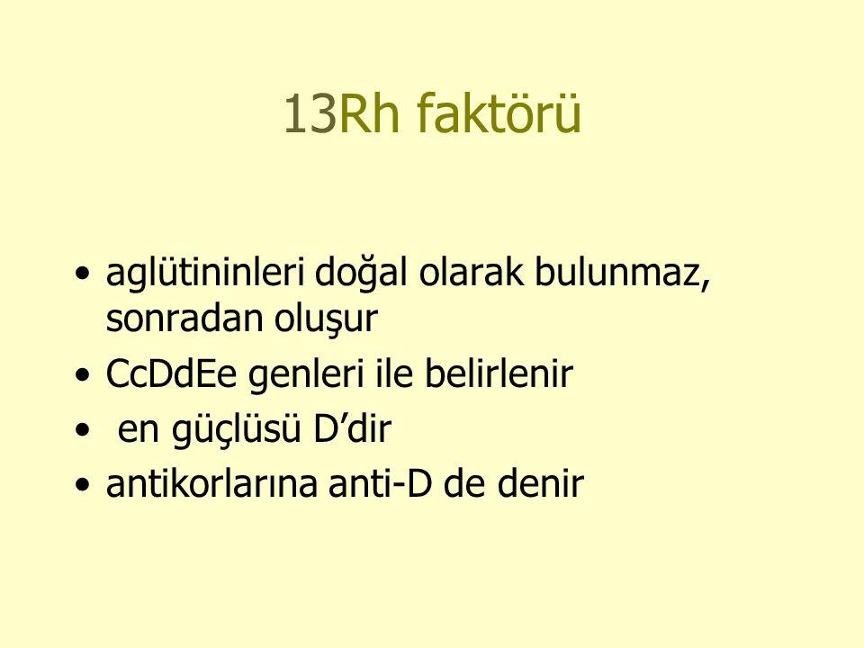 13Rh faktörü aglütininleri doğal olarak bulunmaz, sonradan oluşur