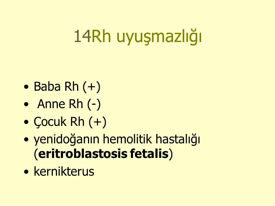 14Rh uyuşmazlığı Baba Rh (+) Anne Rh (-) Çocuk Rh (+)