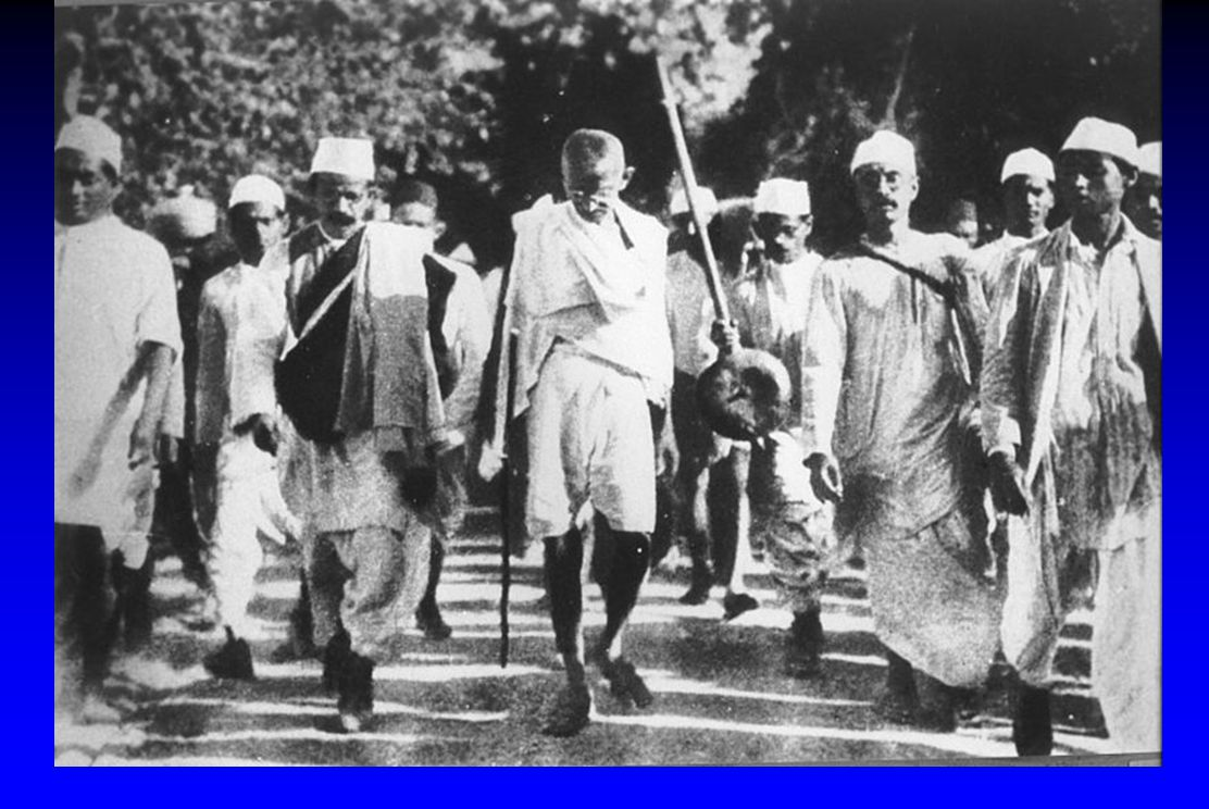 Gandhi during the Salt March, March 1930.