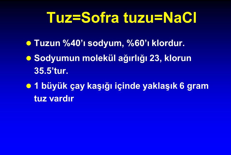 Tuz=Sofra tuzu=NaCl Tuzun %40'ı sodyum, %60'ı klordur.