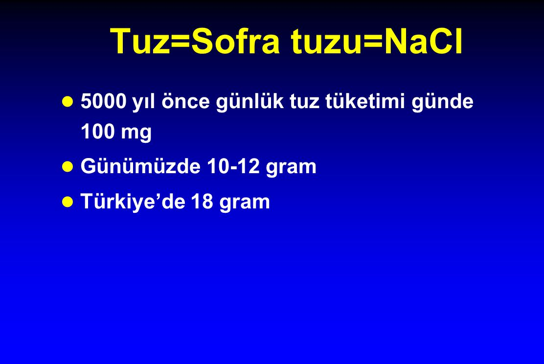 Tuz=Sofra tuzu=NaCl 5000 yıl önce günlük tuz tüketimi günde 100 mg