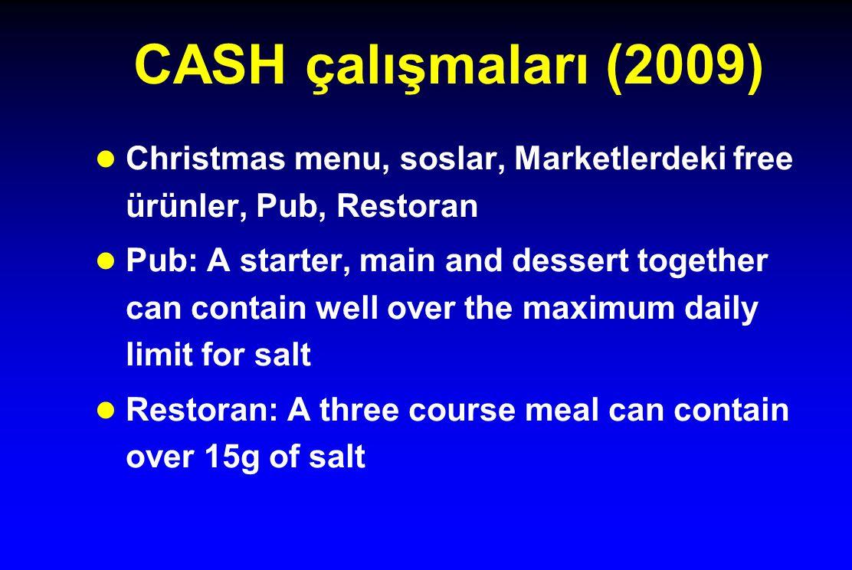 CASH çalışmaları (2009) Christmas menu, soslar, Marketlerdeki free ürünler, Pub, Restoran.