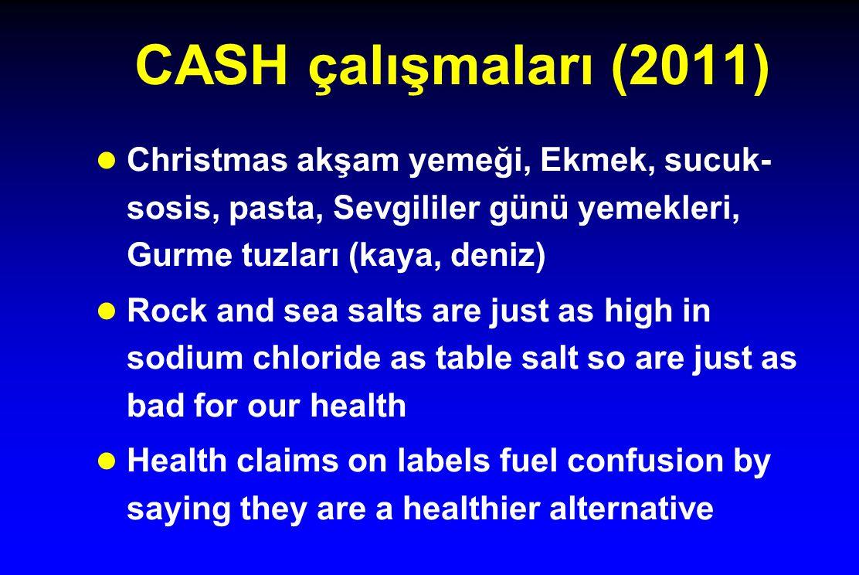 CASH çalışmaları (2011) Christmas akşam yemeği, Ekmek, sucuk-sosis, pasta, Sevgililer günü yemekleri, Gurme tuzları (kaya, deniz)
