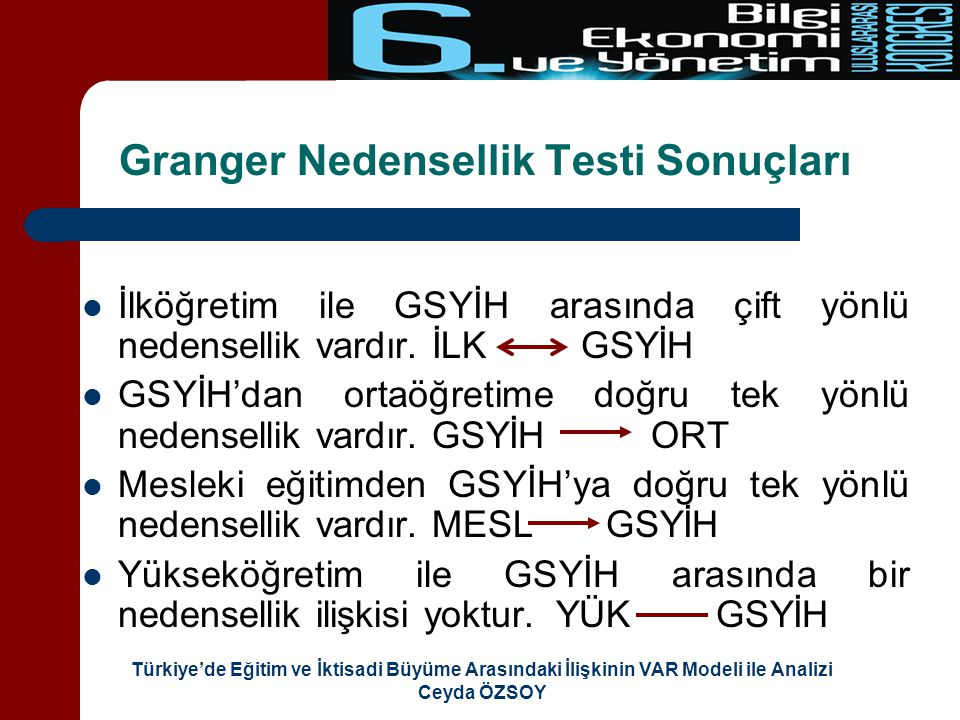Granger Nedensellik Testi Sonuçları
