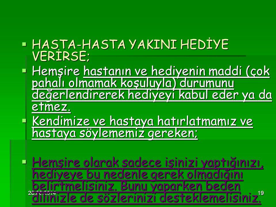 HASTA-HASTA YAKINI HEDİYE VERİRSE;