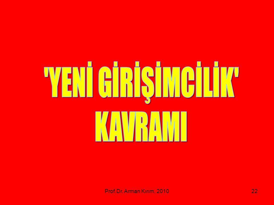 YENİ GİRİŞİMCİLİK KAVRAMI Prof.Dr. Arman Kırım, 2010
