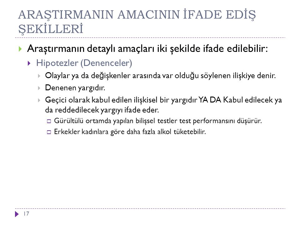 ARAŞTIRMANIN AMACININ İFADE EDİŞ ŞEKİLLERİ