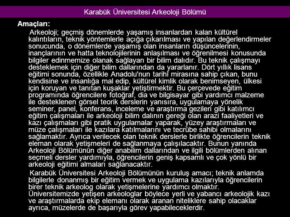 Karabük Üniversitesi Arkeoloji Bölümü