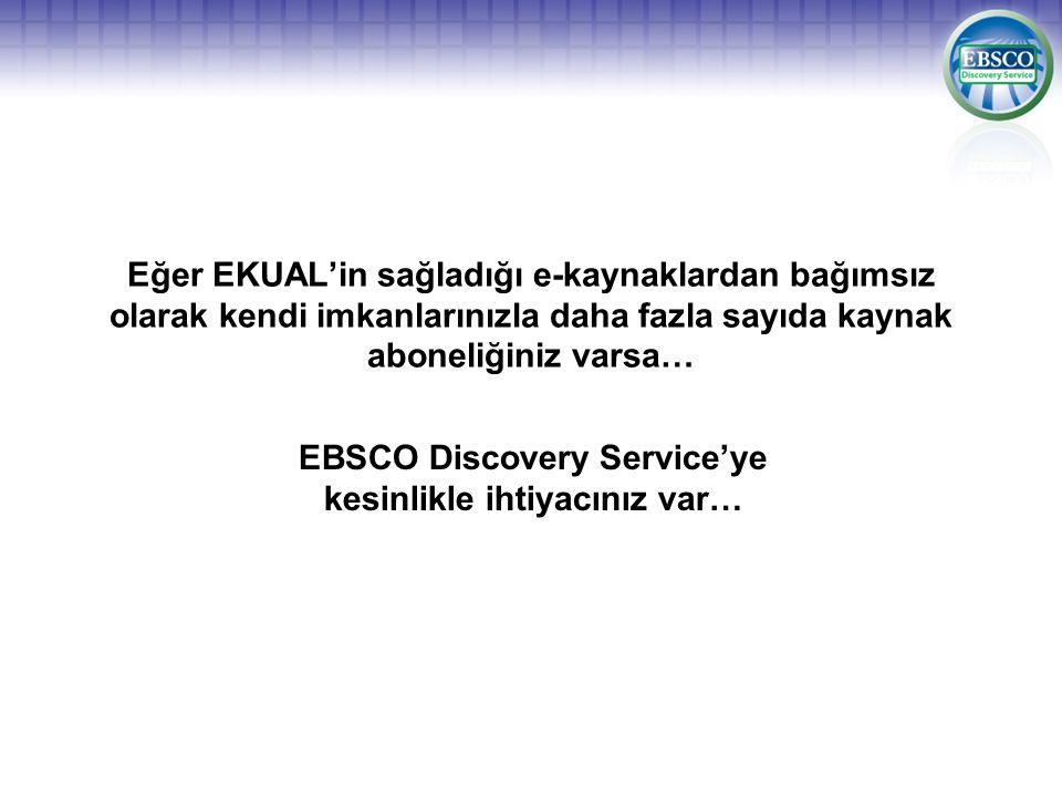 EBSCO Discovery Service'ye kesinlikle ihtiyacınız var…