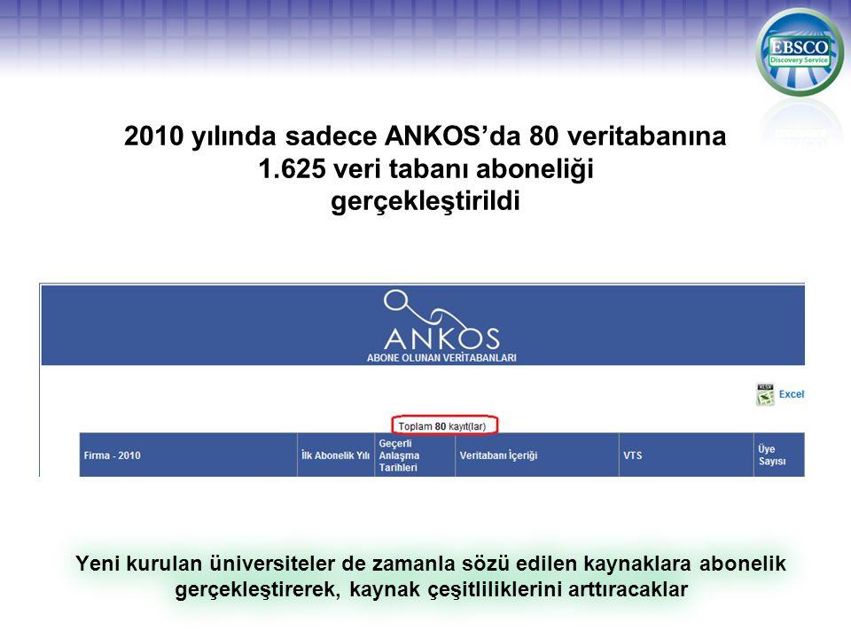 2010 yılında sadece ANKOS'da 80 veritabanına 1