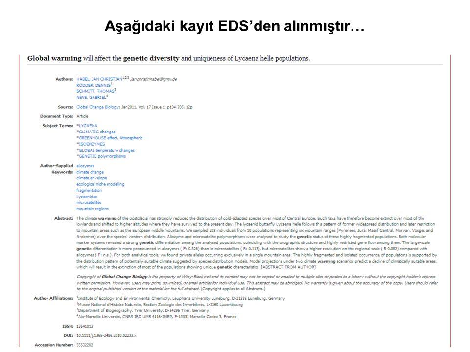 Aşağıdaki kayıt EDS'den alınmıştır…