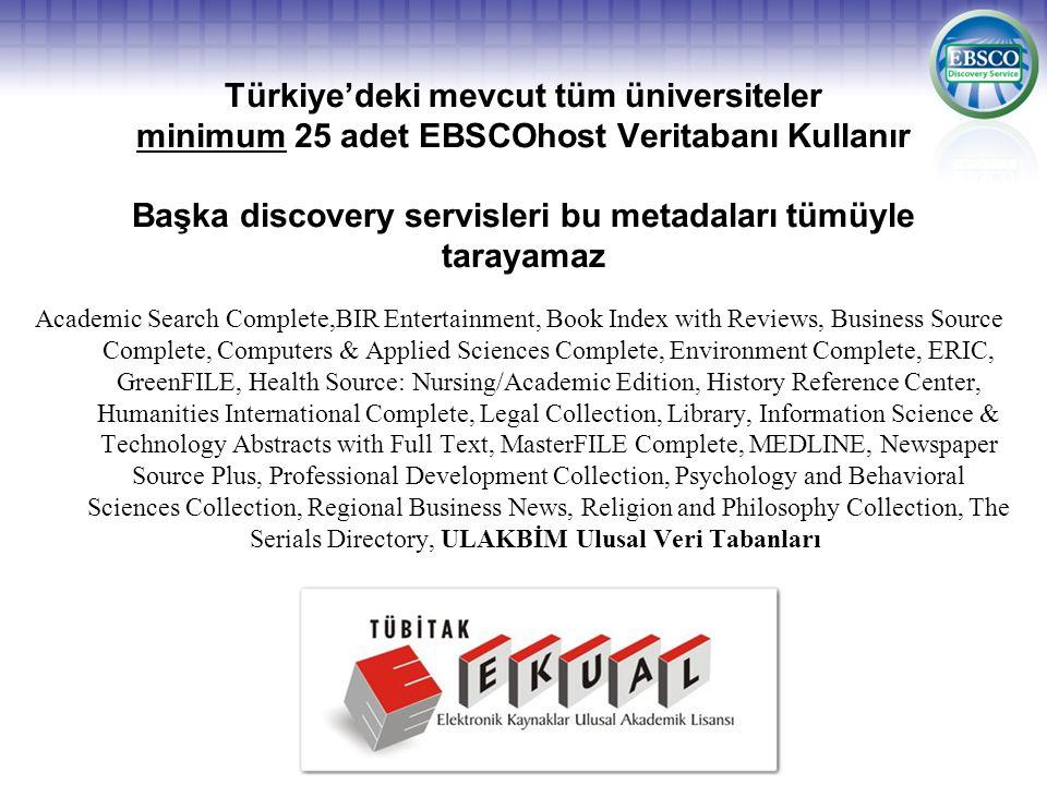 Türkiye'deki mevcut tüm üniversiteler minimum 25 adet EBSCOhost Veritabanı Kullanır Başka discovery servisleri bu metadaları tümüyle tarayamaz