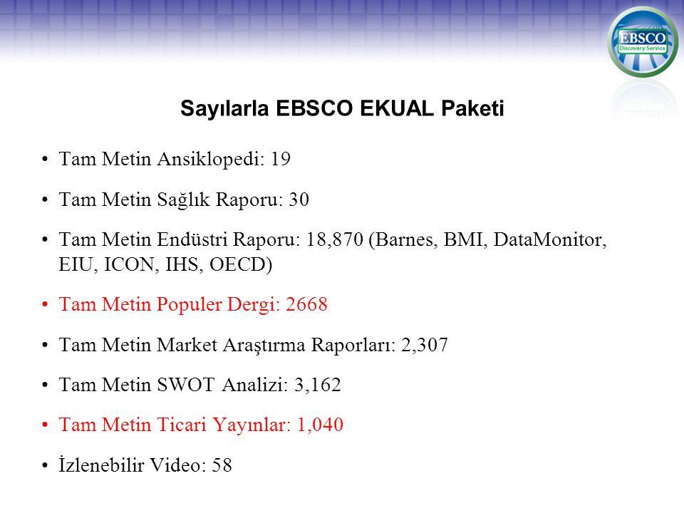 Sayılarla EBSCO EKUAL Paketi