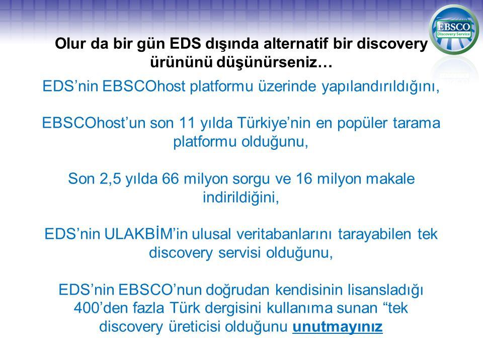 EDS'nin EBSCOhost platformu üzerinde yapılandırıldığını,