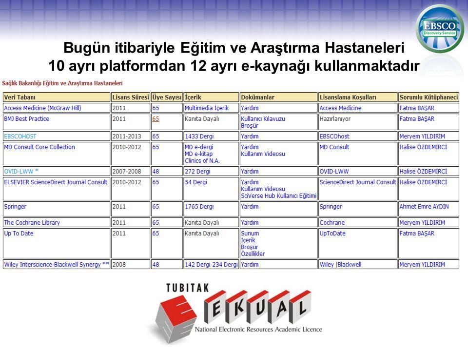 Bugün itibariyle Eğitim ve Araştırma Hastaneleri 10 ayrı platformdan 12 ayrı e-kaynağı kullanmaktadır