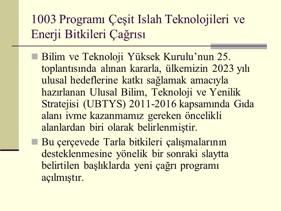 1003 Programı Çeşit Islah Teknolojileri ve Enerji Bitkileri Çağrısı