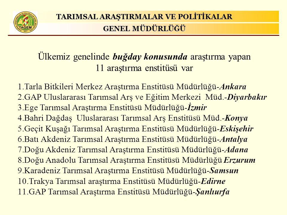 TARIMSAL ARAŞTIRMALAR VE POLİTİKALAR