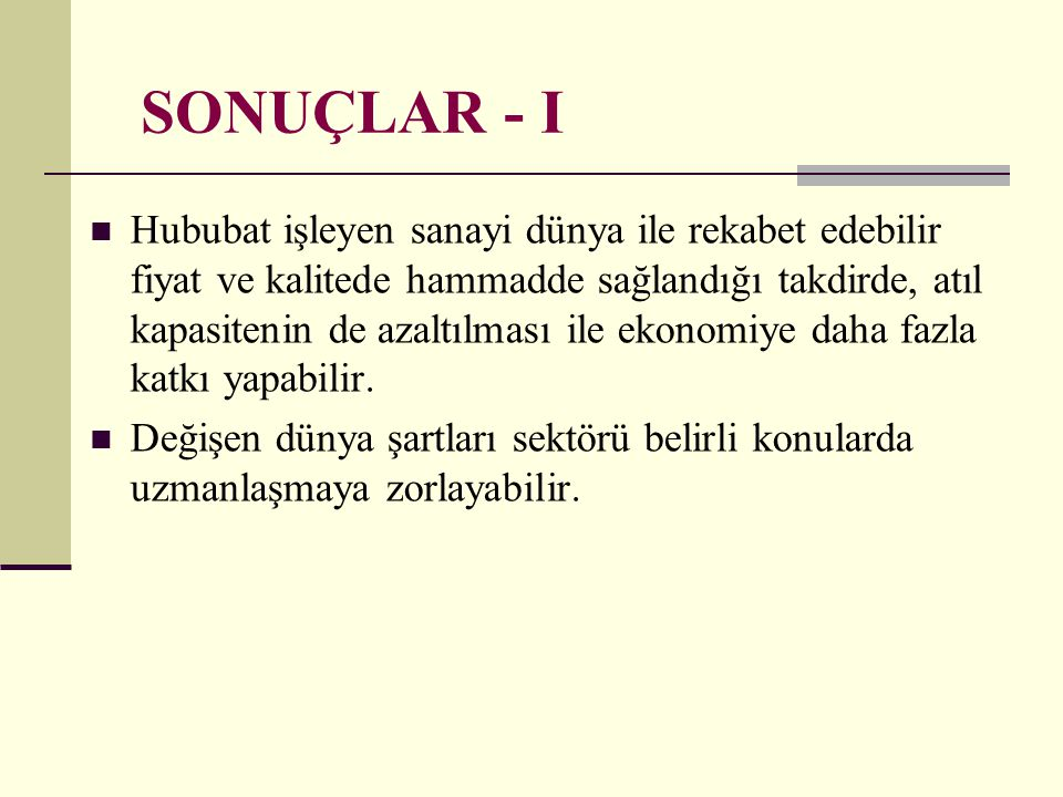 SONUÇLAR - I