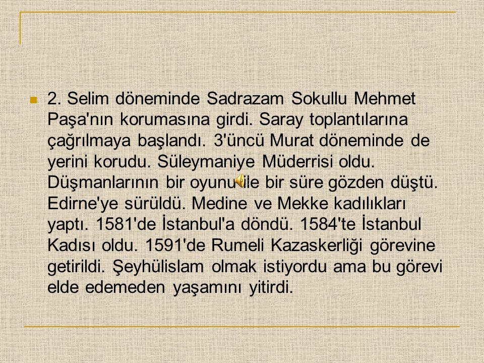 2. Selim döneminde Sadrazam Sokullu Mehmet Paşa nın korumasına girdi