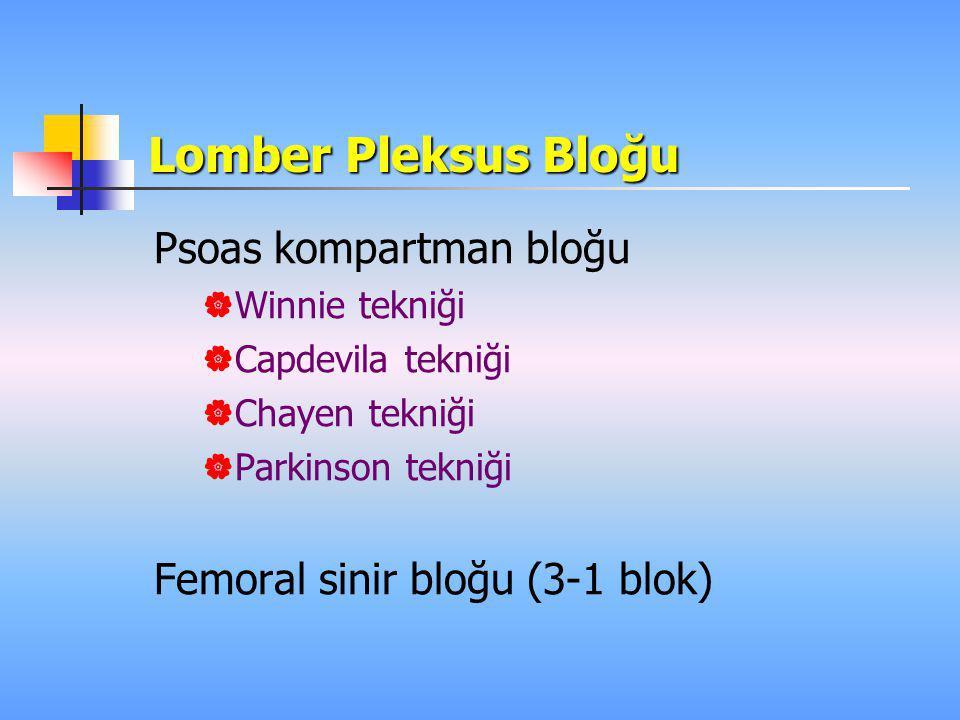 Lomber Pleksus Bloğu Psoas kompartman bloğu