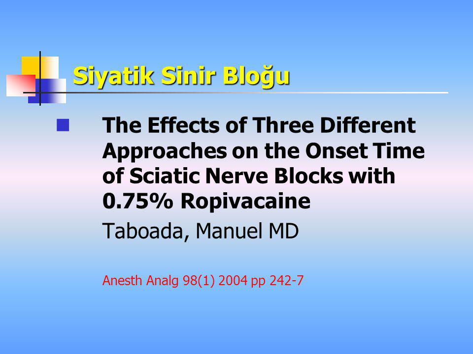Siyatik Sinir Bloğu The Effects of Three Different Approaches on the Onset Time of Sciatic Nerve Blocks with 0.75% Ropivacaine.