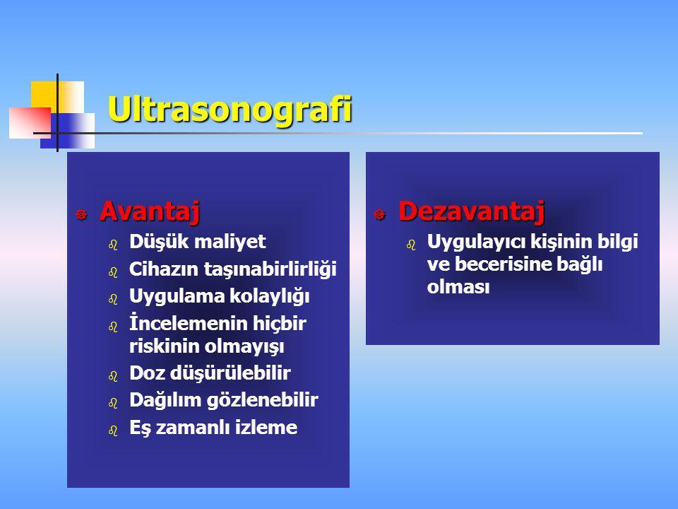 Ultrasonografi Avantaj Dezavantaj Düşük maliyet