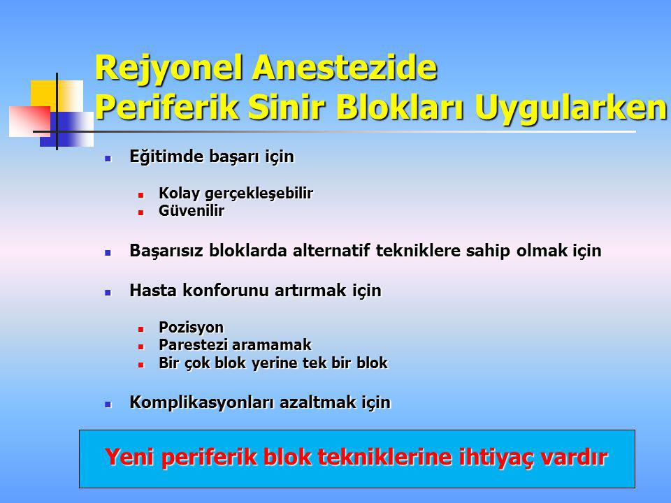 Rejyonel Anestezide Periferik Sinir Blokları Uygularken