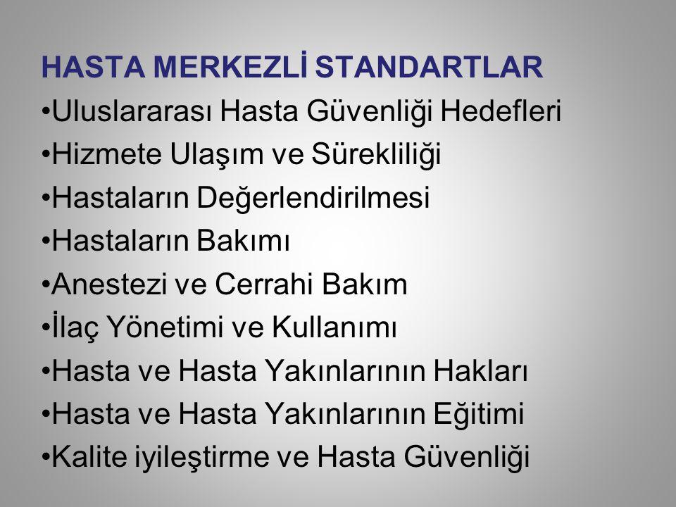 HASTA MERKEZLİ STANDARTLAR