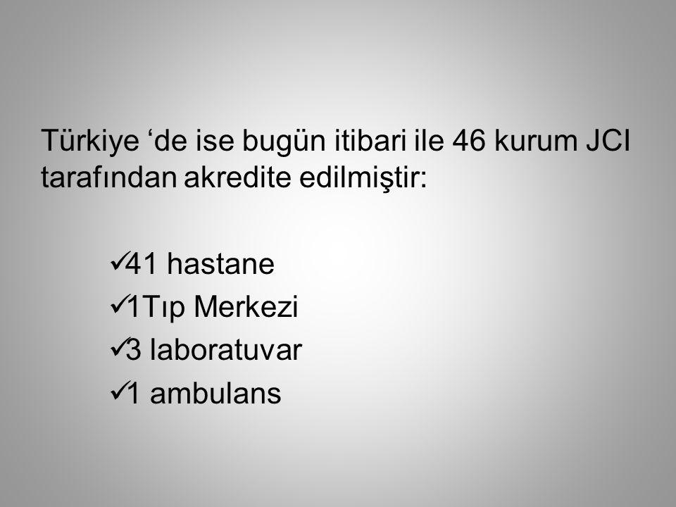 Türkiye 'de ise bugün itibari ile 46 kurum JCI tarafından akredite edilmiştir: