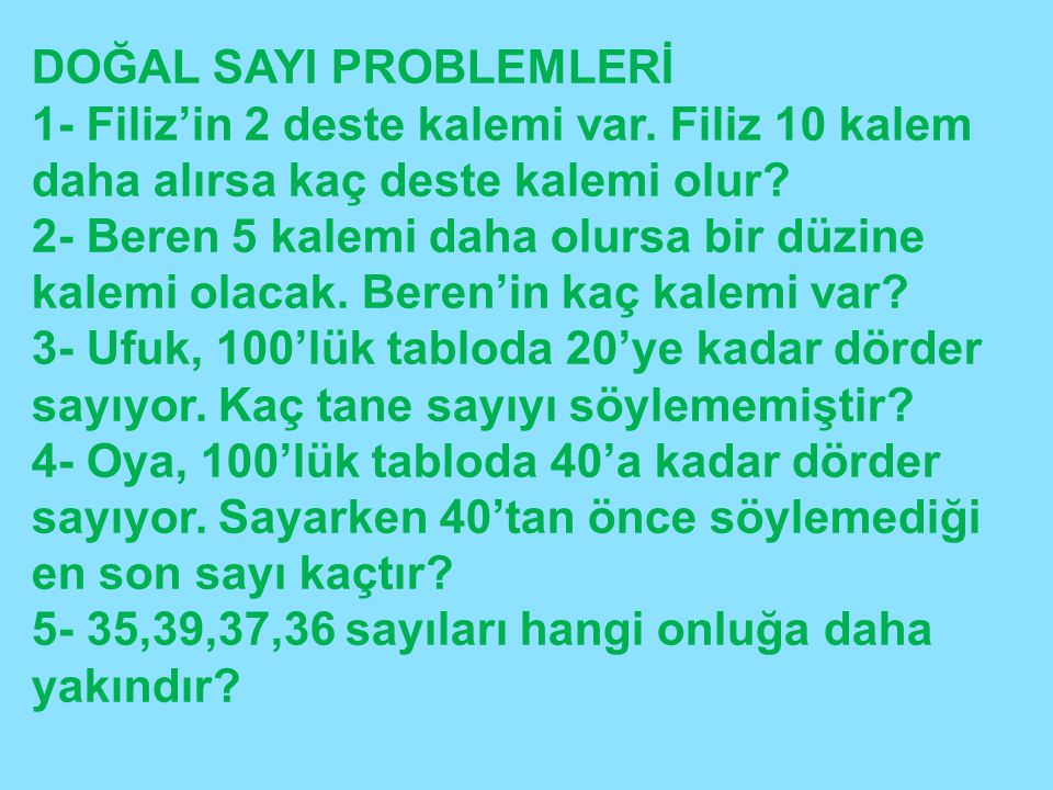 DOĞAL SAYI PROBLEMLERİ