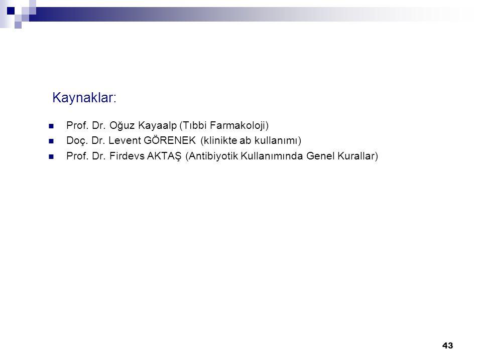 Kaynaklar: Prof. Dr. Oğuz Kayaalp (Tıbbi Farmakoloji)