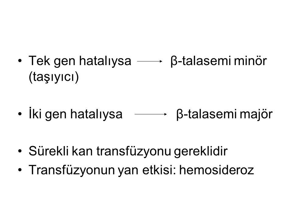 Tek gen hatalıysa β-talasemi minör (taşıyıcı)