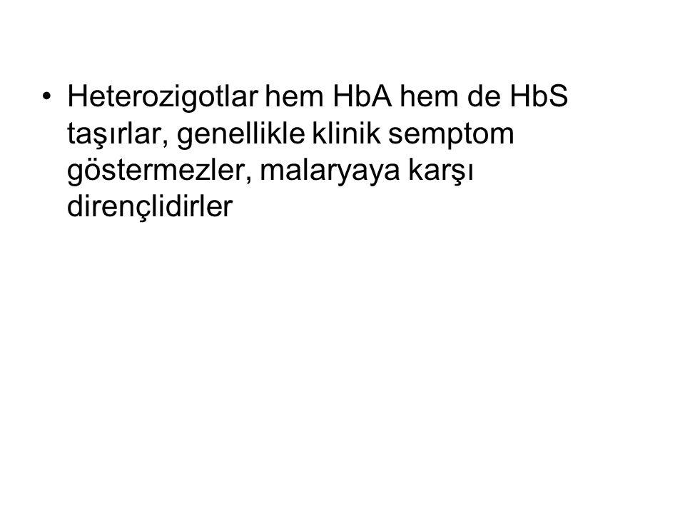 Heterozigotlar hem HbA hem de HbS taşırlar, genellikle klinik semptom göstermezler, malaryaya karşı dirençlidirler
