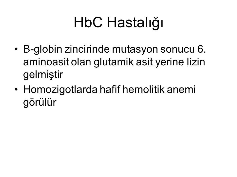 HbC Hastalığı Β-globin zincirinde mutasyon sonucu 6. aminoasit olan glutamik asit yerine lizin gelmiştir.