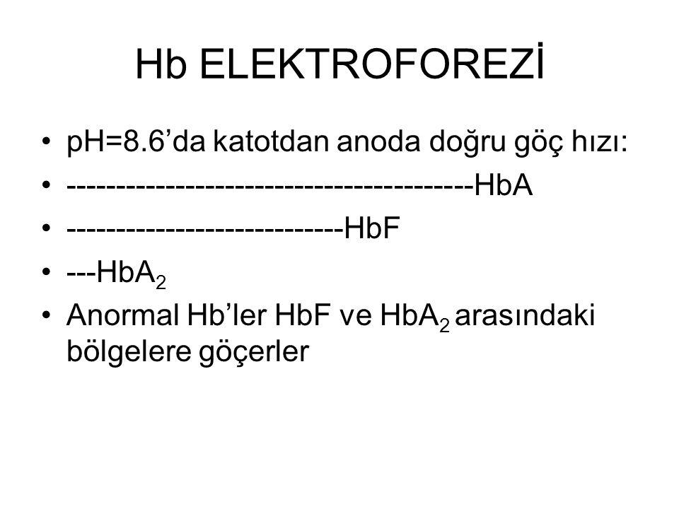 Hb ELEKTROFOREZİ pH=8.6'da katotdan anoda doğru göç hızı: