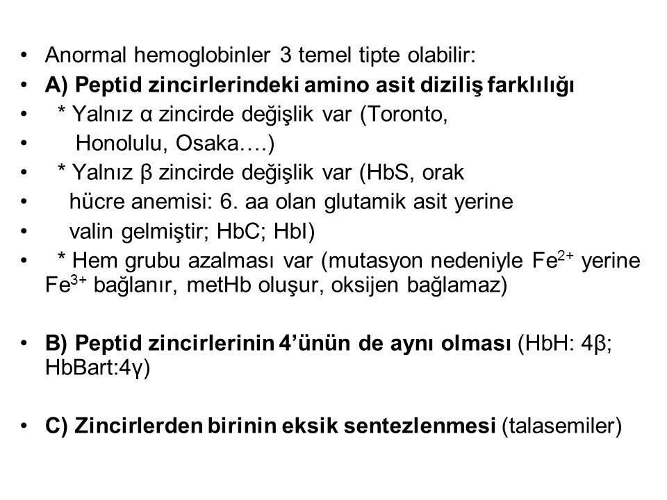 Anormal hemoglobinler 3 temel tipte olabilir: