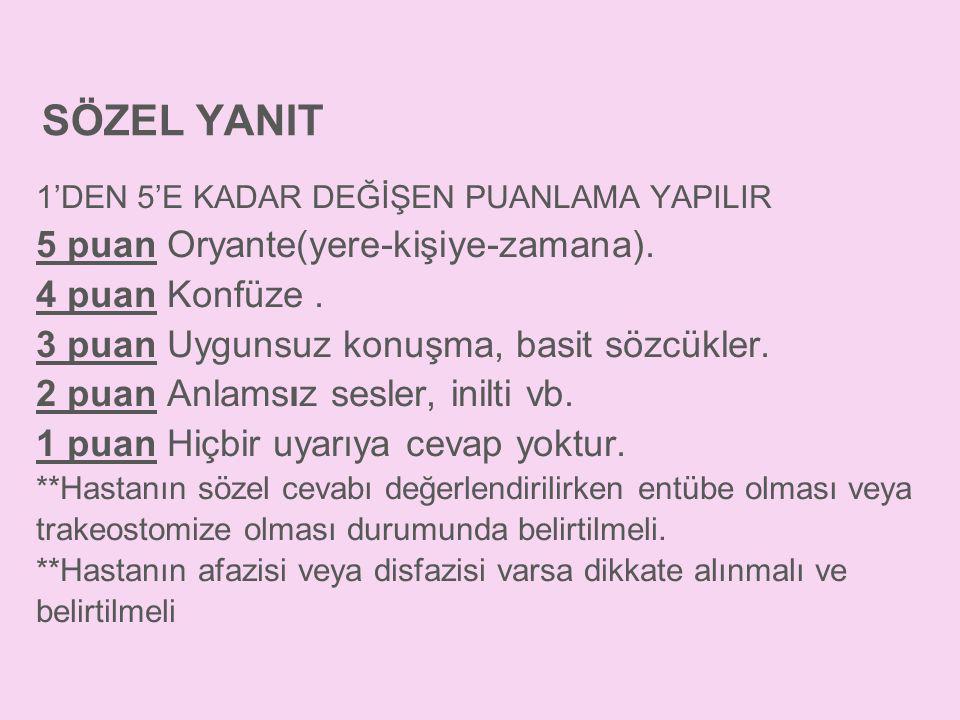 SÖZEL YANIT 5 puan Oryante(yere-kişiye-zamana). 4 puan Konfüze .