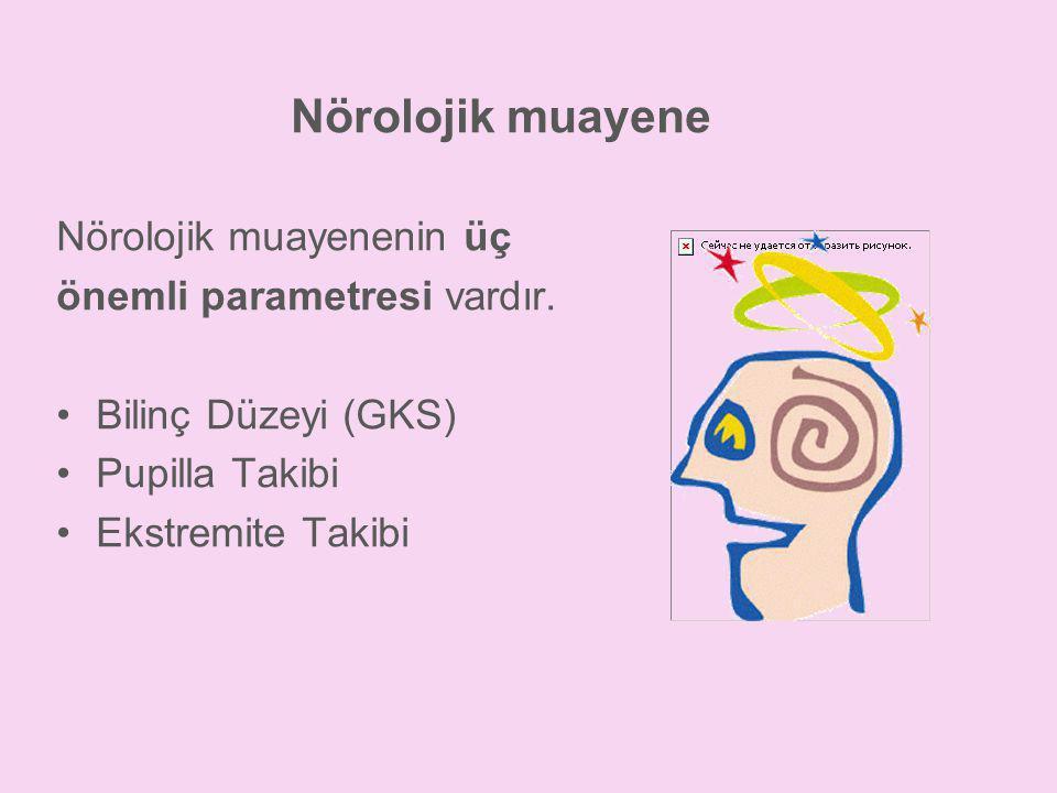 Nörolojik muayene Nörolojik muayenenin üç önemli parametresi vardır.