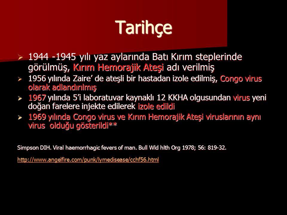 Tarihçe 1944 -1945 yılı yaz aylarında Batı Kırım steplerinde görülmüş, Kırım Hemorajik Ateşi adı verilmiş.