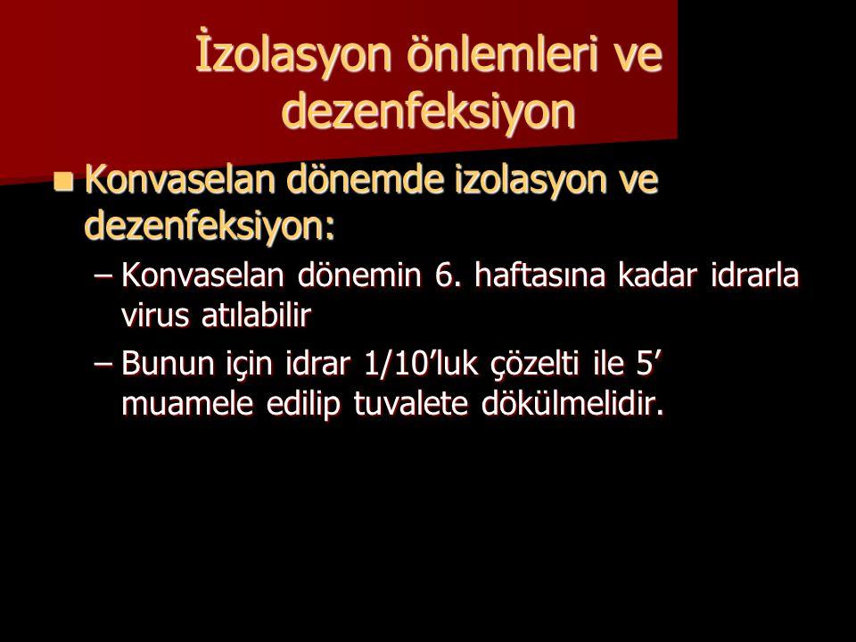 İzolasyon önlemleri ve dezenfeksiyon