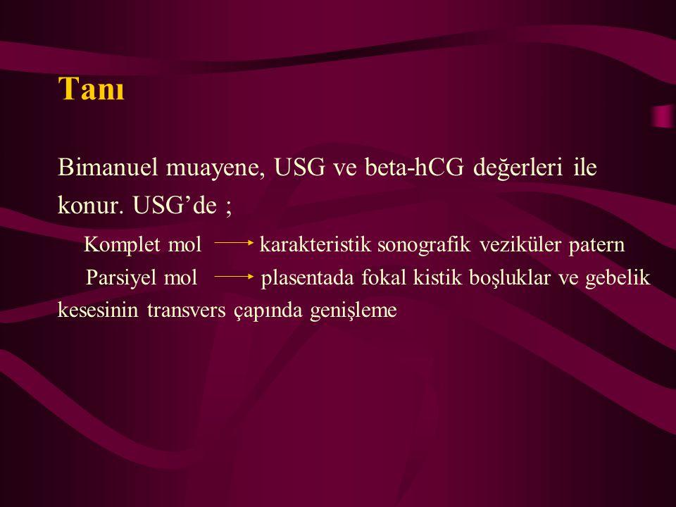 Tanı Bimanuel muayene, USG ve beta-hCG değerleri ile konur. USG'de ;