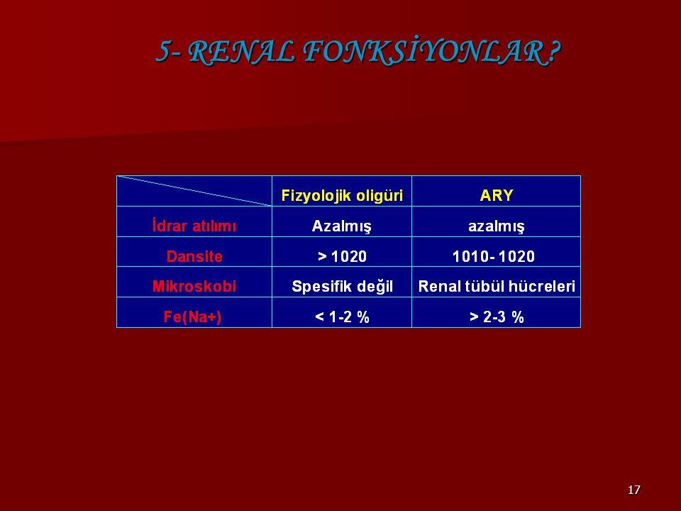 5- RENAL FONKSİYONLAR