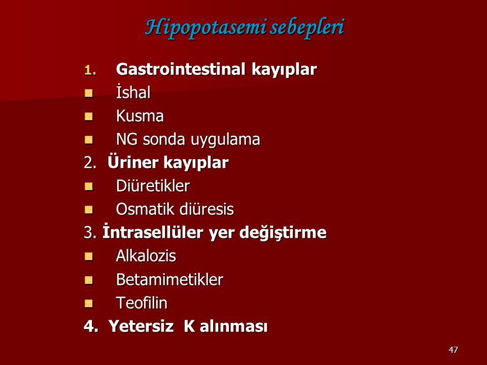 Hipopotasemi sebepleri